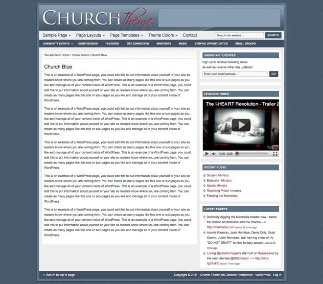 Church ~ Genesis WordPress sablon kék