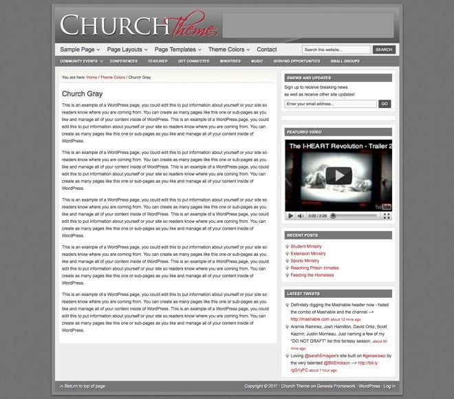 Church ~ Genesis WordPress sablon szürke